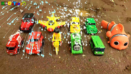 货车收获汽车公交车和托马斯火车,学习英语,婴幼儿宝宝玩具过家家游戏视频J191