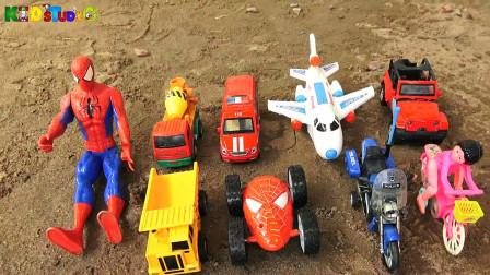 复仇者联盟帮助汽车工程车和飞机、自行车玩具脱困,婴幼儿宝宝玩具过家家游戏视频F799