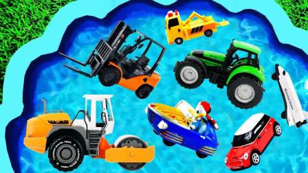 儿童启蒙玩具认知:挖掘机、工程车、救护车、消防车、警车、压路机、拖车!