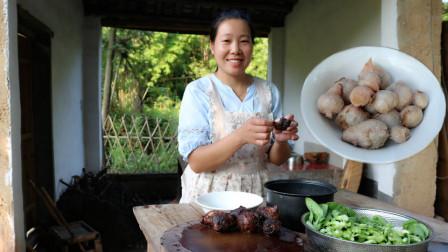 江西赣州传统硬菜,土芋头煮小白菜,这才是农村原生态美食