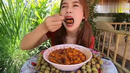 大胃王美食吃播,外国妹子吃麻辣凉拌槟榔