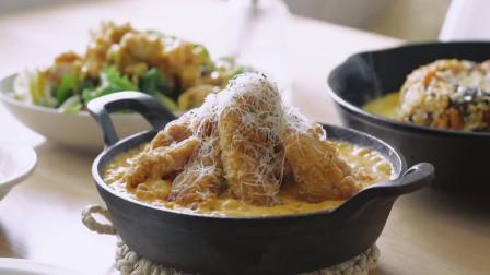 《韩国农村美食》炸的酥脆的鸡块,配上浓香的芝士,最后的拌饭也不错