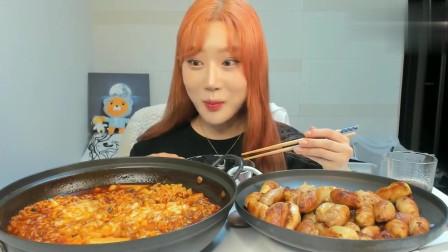 大胃王美食吃播,韩国小姐姐吃泡面和鸡皮饺子