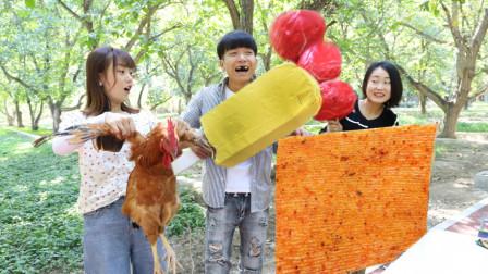 巨型零食摊,公鸡转盘决定价格,二货花1万元买了个石头糖