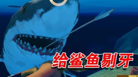 木筏求生42:下海给鲨鱼剔牙,小命差点没了!膨胀了?