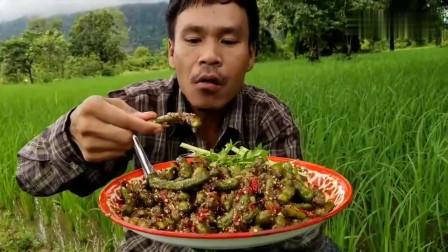 吃播:泰国吃货大叔试吃辣酱拌酸角,看着上面满满的辣酱,好酸爽!