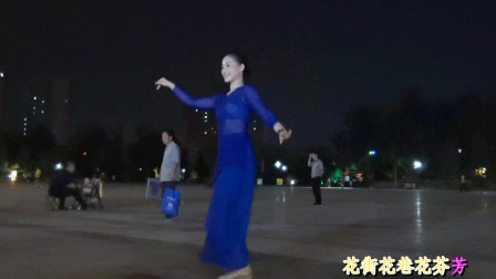 青青世界广场舞 透明薄蓝纱裙学跳《花城姑娘》