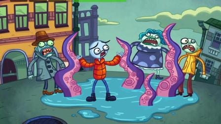 胖虎游戏:大马路上的水潭内出现巨大章鱼,将火柴人拖到下面!