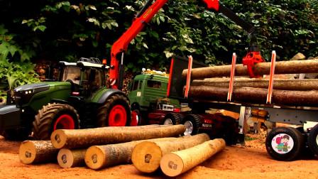 裝載車機,大卡車運送木材,自卸車裝載車搬運水泥,兒童玩具親子互動