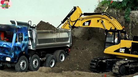 遙控工程車施工,自卸車挖掘機大卡車搬運泥土,大掛車運來材料建橋,兒童玩具親子互動