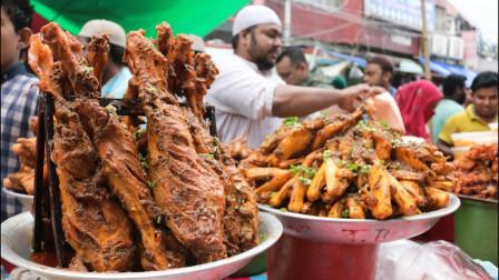 印度美食街,大块牛肉堆成山,把人看饿了
