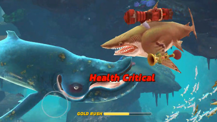 饥饿鲨世界:巨齿鲨一口吃掉超级蓝鲸鲨,能回复多少血量?