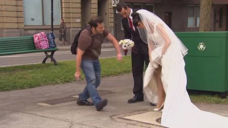 灵异事件!调皮的小男孩消失在了新娘的裙底,路人满脸的不可思议