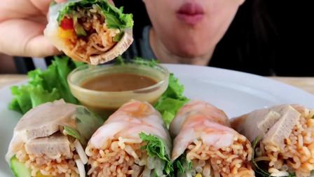 吃货大胃王:妹子吃自制稻米卷,健康又营养,在家自己就能做