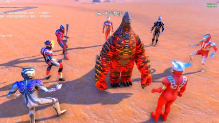 贝利亚、雷欧、佐菲、雷杰多等七大奥特曼,围攻超强怪兽EX雷德王