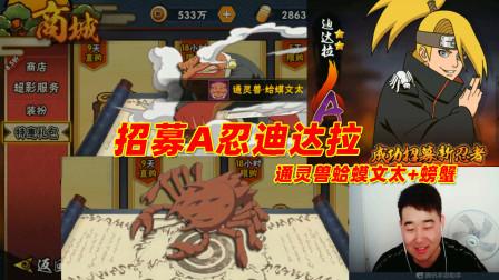 火影忍者手游辣条哥:648Q币招募A忍迪达拉,通灵兽螃蟹好厉害