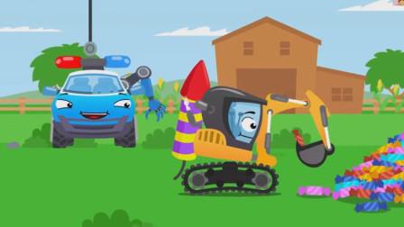 都是贪吃惹的祸,小警车和挖掘机冤冤相报何时了呢?汽车总动员游戏