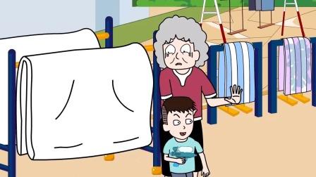 奶奶在公共设施晒衣物,屁登劝阻无果!