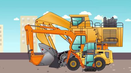 重型挖掘机和推土机把泥土装到自卸车上儿童动画片