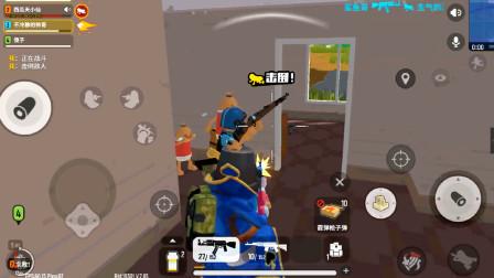 香肠派对:挑战落地第一把枪带粉丝吃鸡,AKM一个房间干掉三个