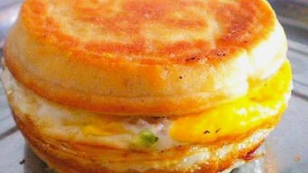 热门小吃鸡蛋汉堡教你在家做,制作超级简单,一次能吃两三个