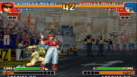 拳皇97暴走克里斯在丽安娜面前放大蛇薙,结果被秀一脸