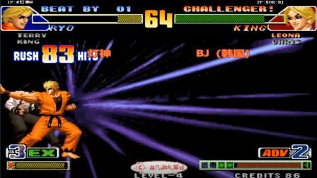 拳皇98c:不愧是最累坂崎良,灯神强反也要打出134连,韩国BJ崩溃了