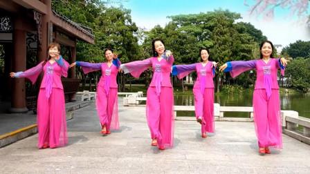 点击观看《英兰花广场舞《我等你在美丽的松山湖》古典舞》