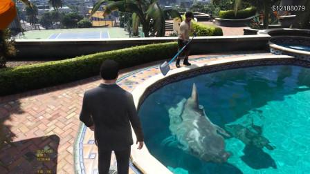 GTA5:麦克家的游泳池养鲨鱼