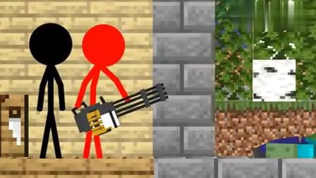 我的世界动画:火柴人组建学校,花式吊打僵尸!