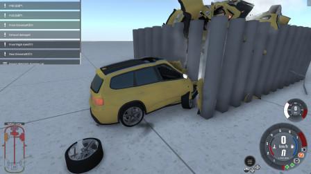 车祸模拟器:从高空跌落,撞击上百根水泥柱,SUV直接报废!