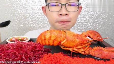 泰国吃货眼镜哥吃播,海藻+飞鱼籽清脆爽口,大龙虾尾鲜嫩肥美
