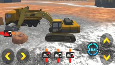 卡通模拟驾驶挖掘机翻斗车运输材料小游戏益智玩具