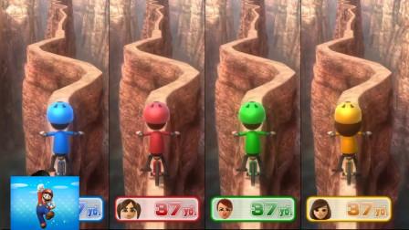马里奥游戏:在山涯小路骑自行车,小心不要掉下去!