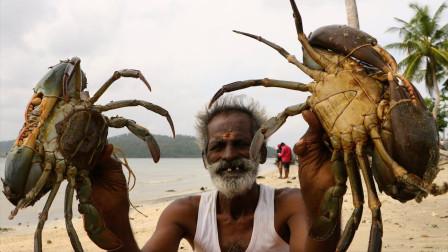 印度的巨型螃蟹,个头超级大,一起来看看印度人怎么吃!