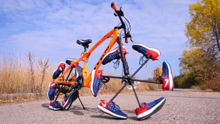 老外用鞋子代替自行车车轮,骑上去的瞬间,这简直太牛了吧!