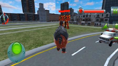走走云游戏解说:变形机器人英雄:河马机器人铁头撞击,一个冲刺过去,一撞双爆