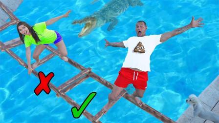 挑战:未知独木桥游戏,哪块木板是安全的?简直太难了!