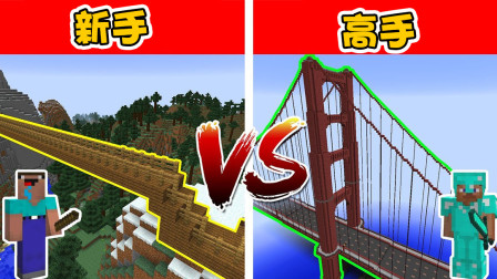 我的世界:新手和高手桥梁建造,玩了这么多年还是个新手?