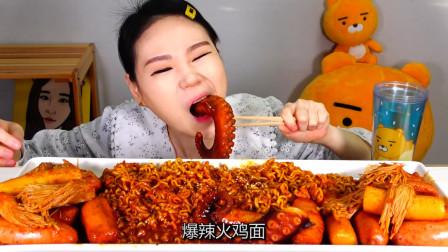 """韩国吃货卡妹:""""爆辣""""火鸡面+章鱼足,直接大口咀嚼,看着真过瘾"""