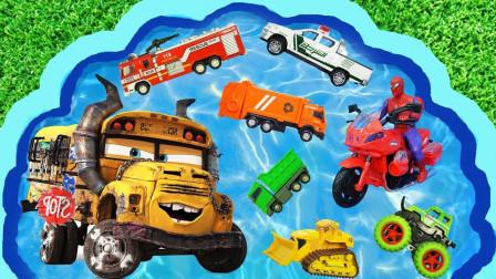 孩子的玩具早教啟蒙認知:攪拌車、推土機、消防車、環衛車!