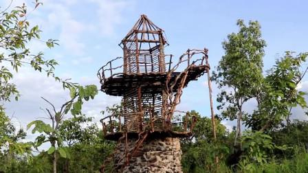 建三層樓建石頭游泳池,石頭水滑梯