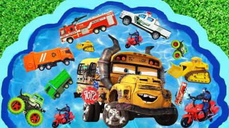兒童早教啟蒙玩具認知:消防車、翻斗車、推土機、攪拌車、警車、環衛車!