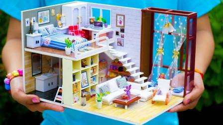 为芭比娃娃纯手工打造两层小洋房,你觉得可爱吗?