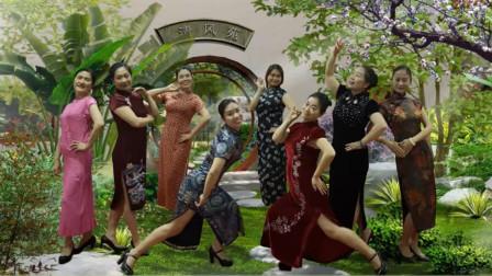 唐山灵之韵广场舞《百花香》好身材中年妇女旗袍舞视频