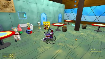 迪迦奥特曼坐着轮椅向海绵宝宝乞讨要汉堡吃