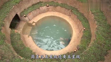 """牛人水中打造""""双层泳池别墅"""",钻入水下一看,内有乾坤!"""