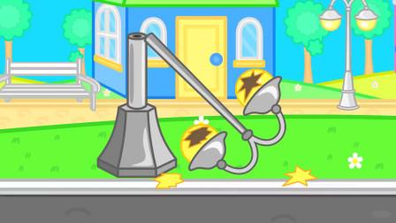 机器人破坏游乐设施小狮子用气球把他吊上天精灵锤子修复设施