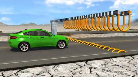 汽车高速通过障碍物,会是什么后果?第2辆车太惨了