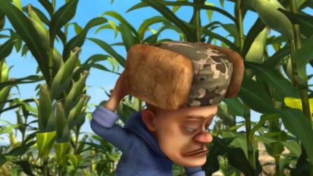 熊出沒之奪寶熊兵光頭強偷偷來到了玉米地準備偷玉米